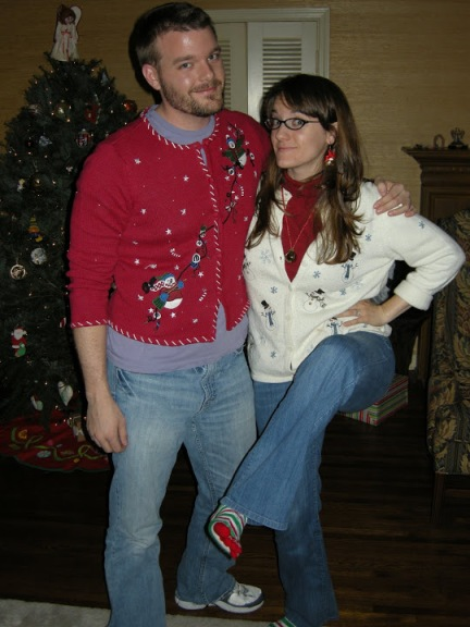 Bryan and Marci with Tacky Xmas Sweaters - 2010