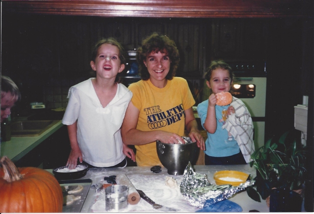 Mom with Krista and Marci making cookies1
