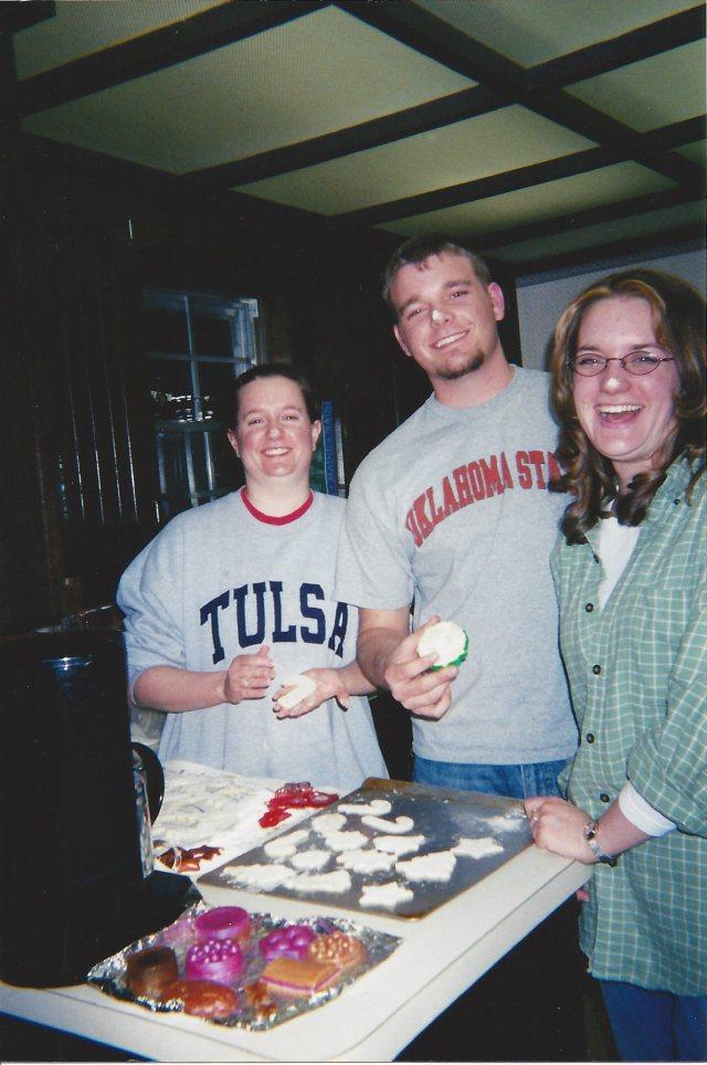 The kids making cookies
